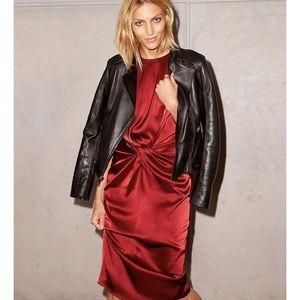 Donna Karan red silk twist front dress